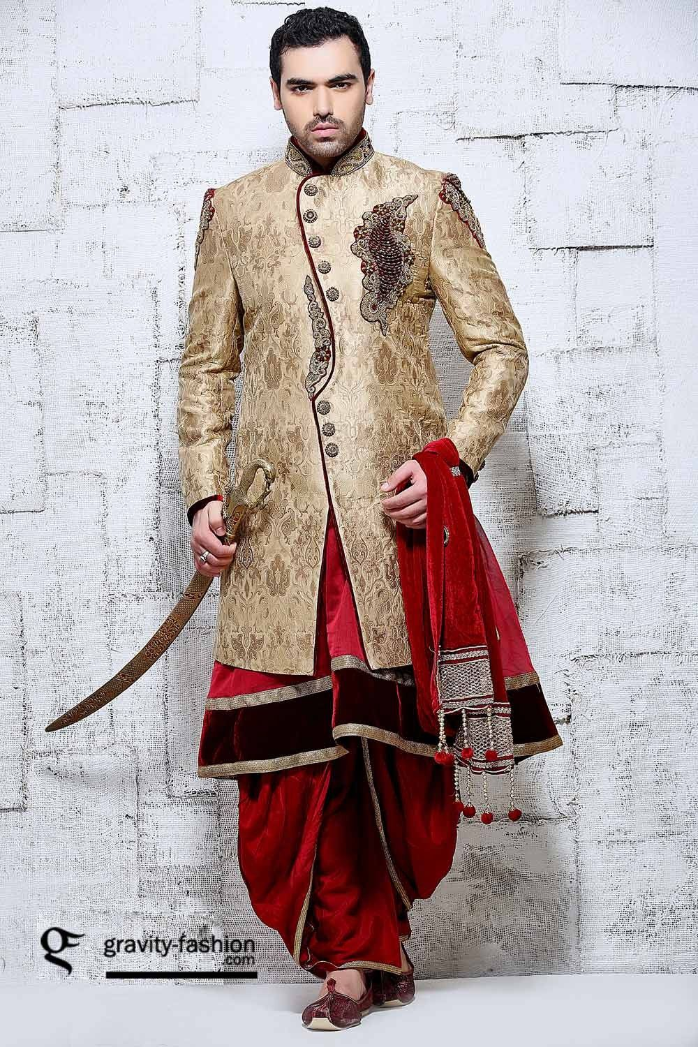 Gold Red Dhoti Style Indian Wedding Sherwani In Banarasi Silk Sherwani Pinterest
