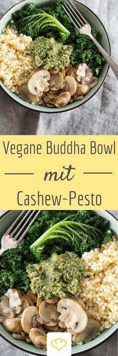 Vegane Buddha-Schale mit Cashew-Pesto   – vegane Rezepte