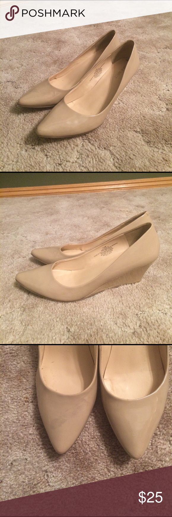 Nine West nude wedges These nude wedges are super cute and durable and in very good shape aside from one Greyson smudge which I have pictured. Nine West Shoes Wedges