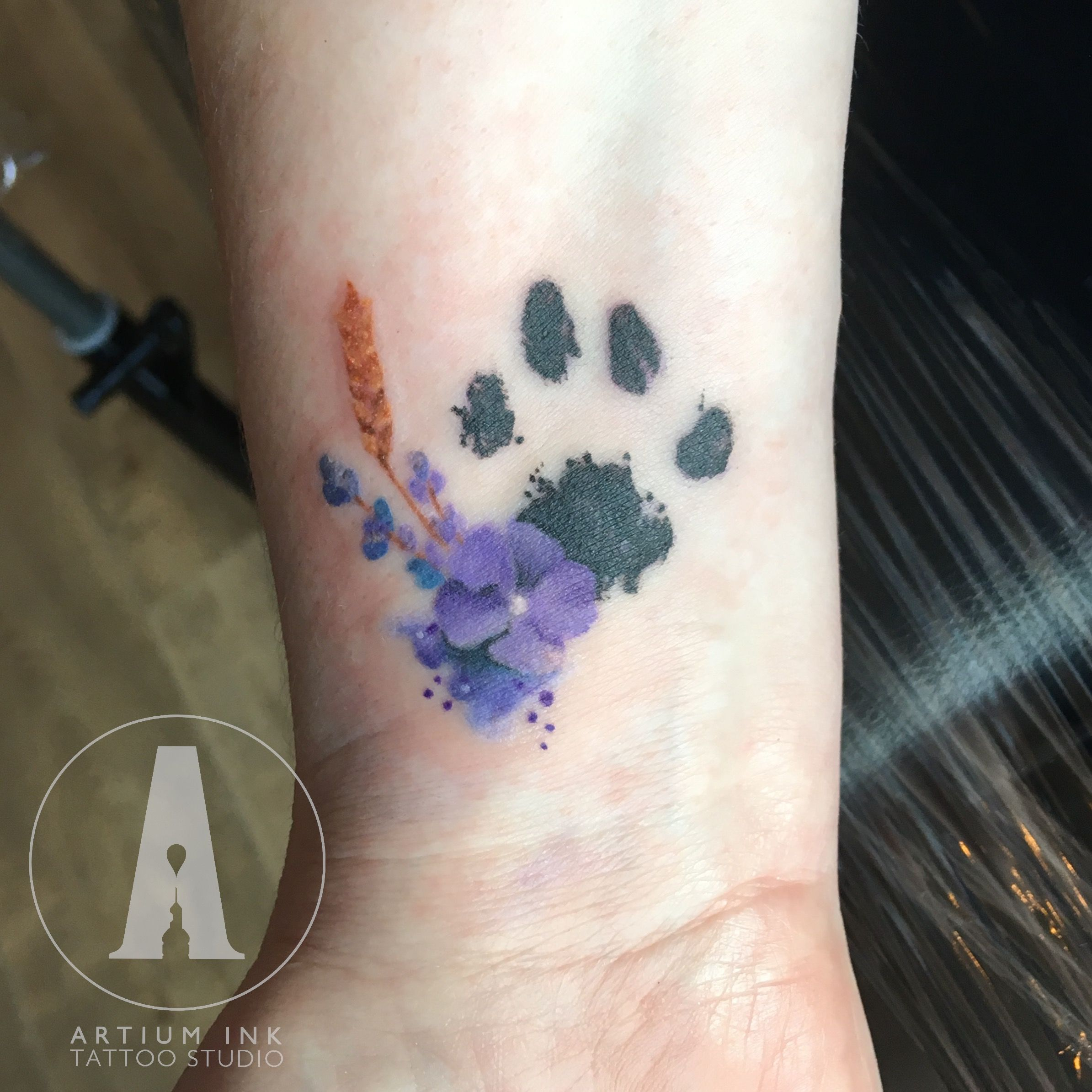 Paw Print Tattoos With Flowers: Delicate And Dainty Watercolour Paw Print And Wildflower