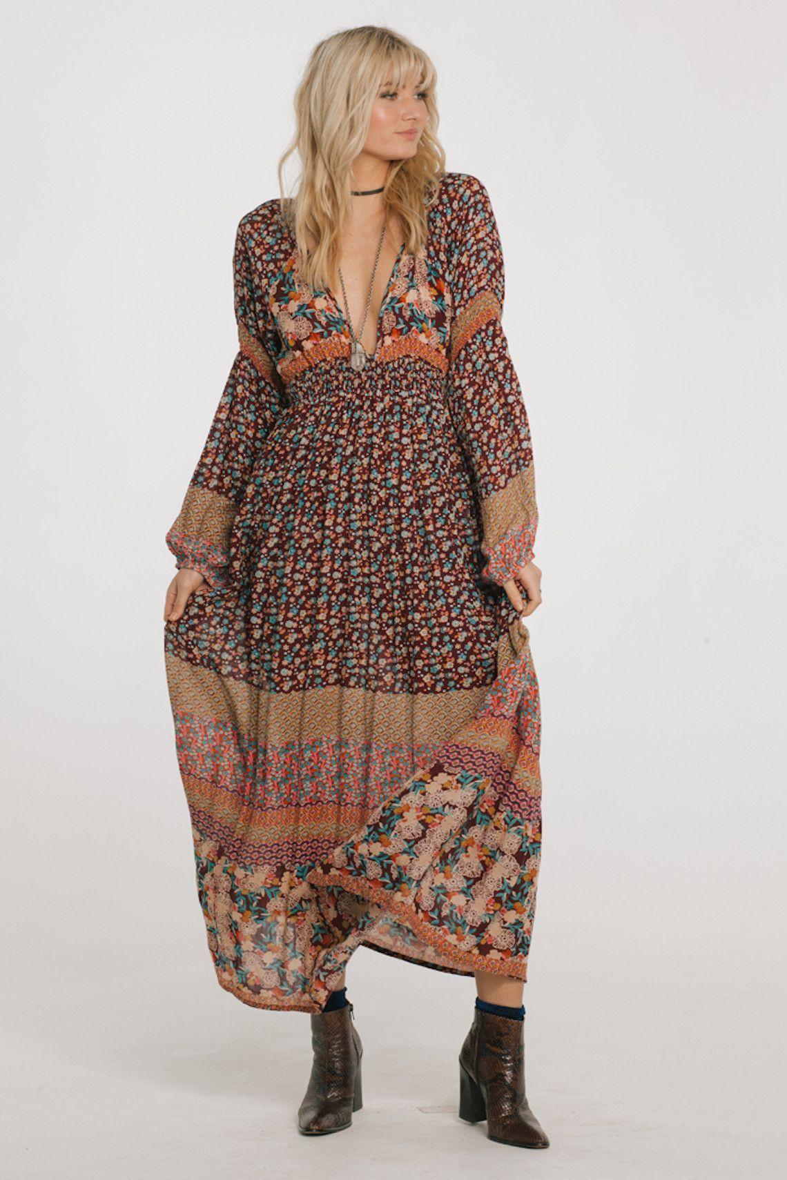 Raga tuscan sunset plunge maxi dress bell sleeve maxi dress