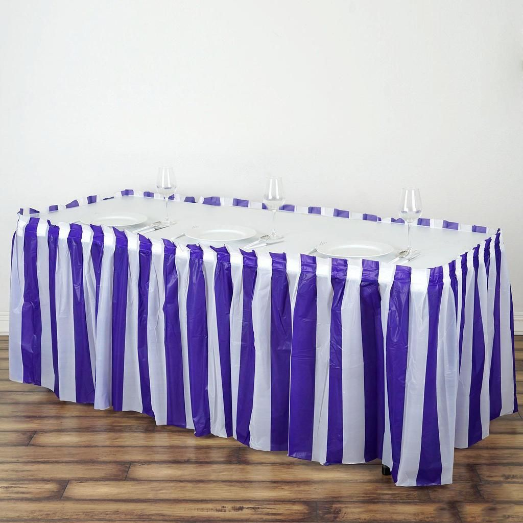 14ft 10 Mil Thick Stripe Plastic Table Skirts Disposable Table Skirt Spill Proof White Purple In 2020 Striped Table Table Skirt Plastic Tables