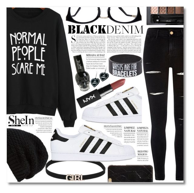 """""""Normal People Scare Me."""" by elizabeth4ever ❤ liked on Polyvore featuring Rick Owens, adidas Originals, River Island, Kershaw, Guerlain and Witch Worldwide"""