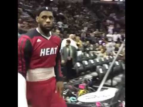 LeBron James returns to the floor for the second half