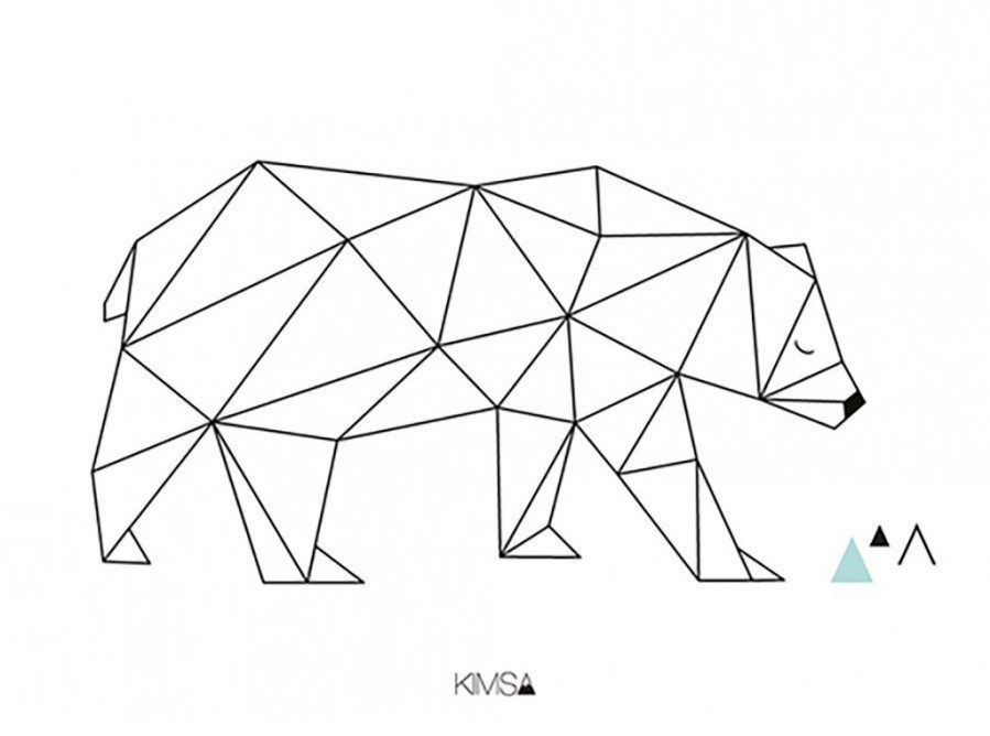 Lamina oso polar geometrico decoraci infantil for Comedores la polar