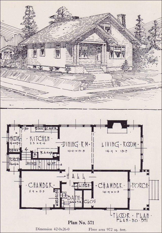 1926 Universal Plan Service No 571 Classic Bungalow Cottage Cottage Bungalow House Plans Cottage Bungalow House Plans Small House Vintage House Plans