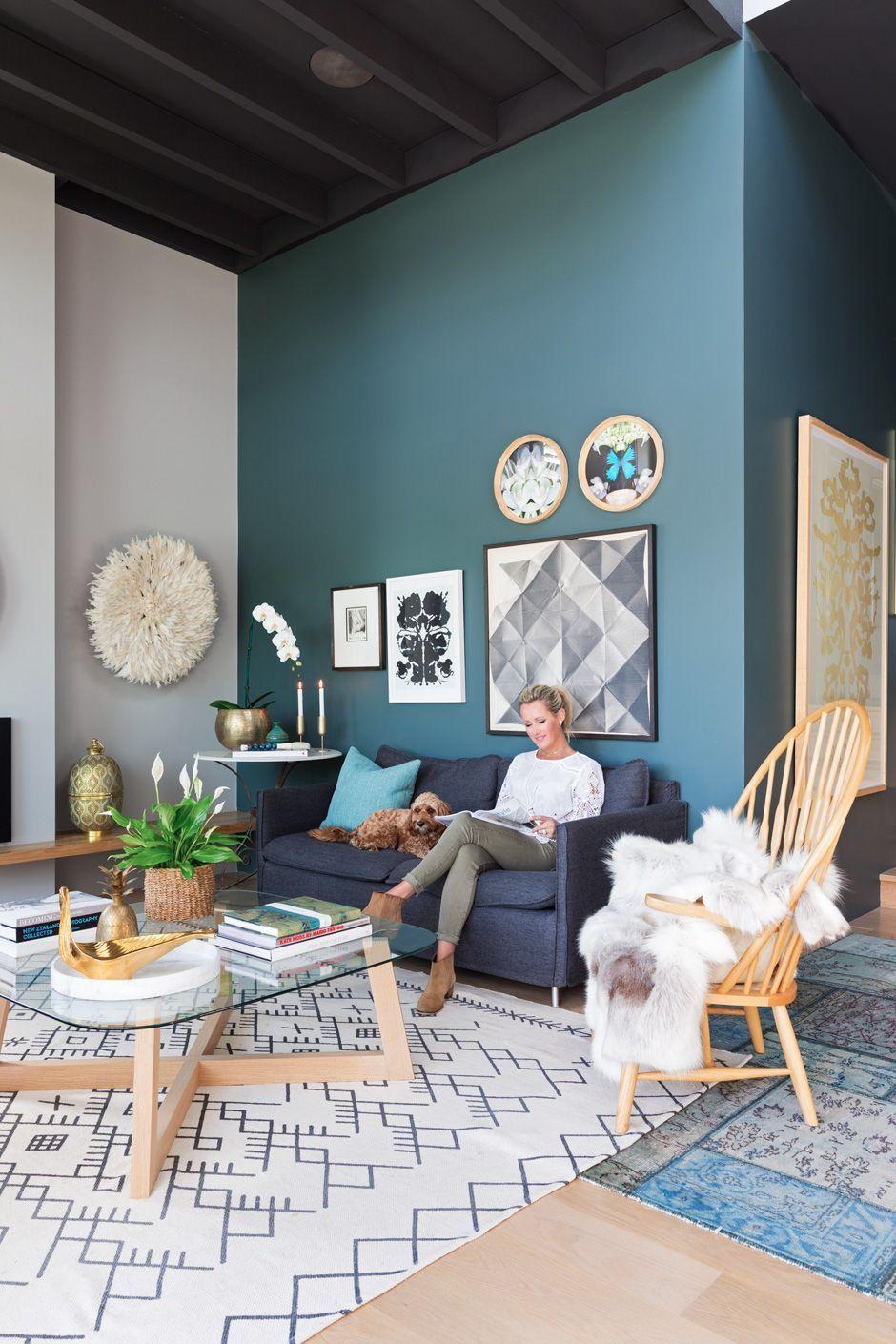 Salon bleu canard : idées peinture et déco bleu canard à copier - Côté Maison