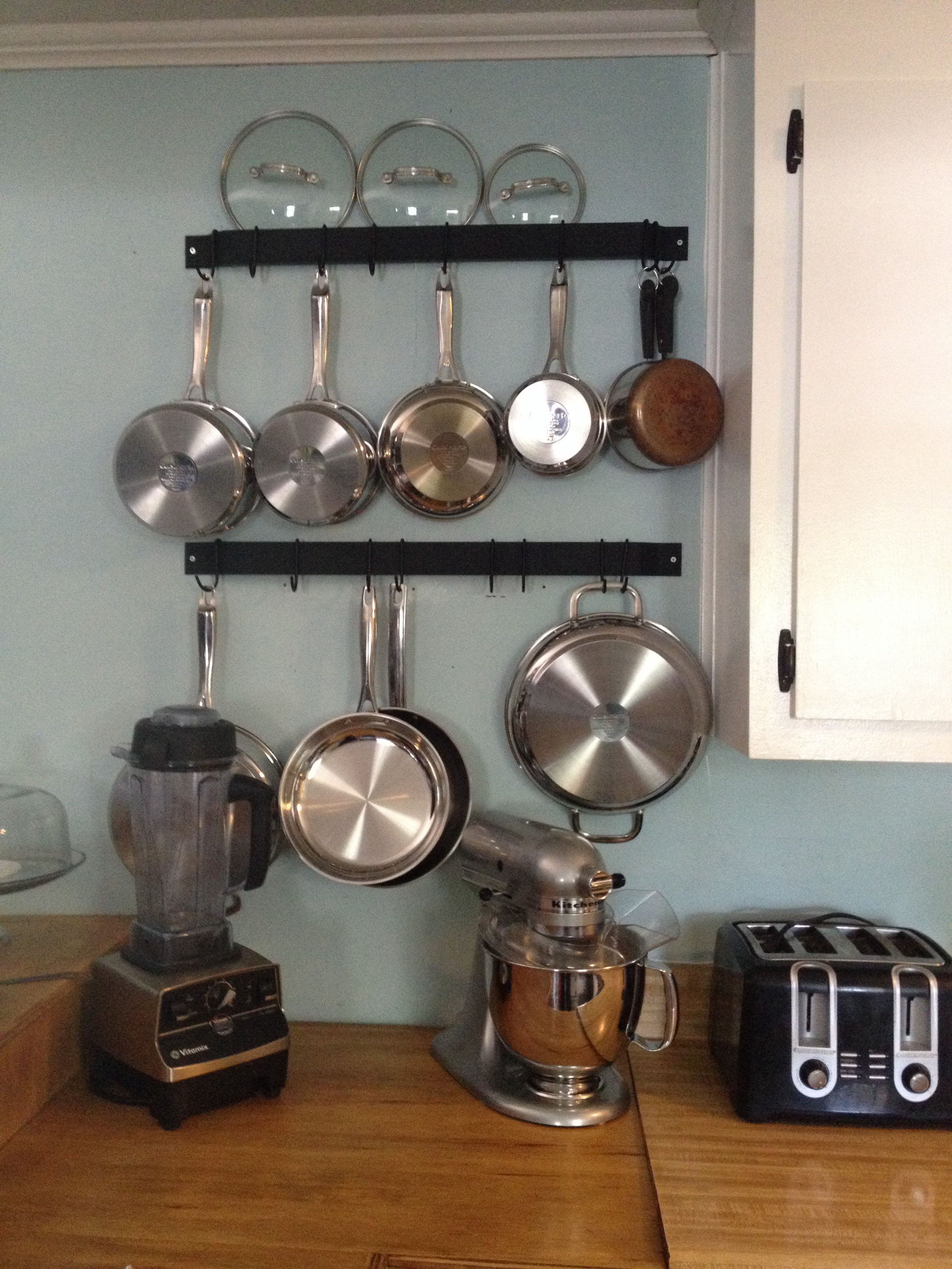 Hung pot rack by myself! LUV how neat and simple it looks. | Die ...