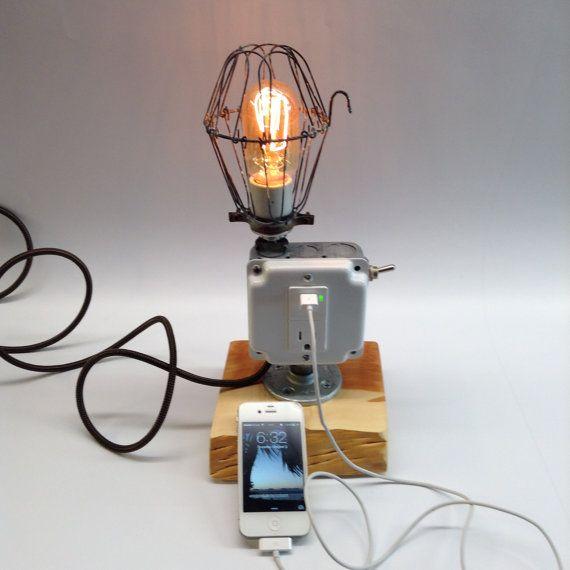 Lamp Industrial Light USB Port Cell Phone by ModernArtifactDecor