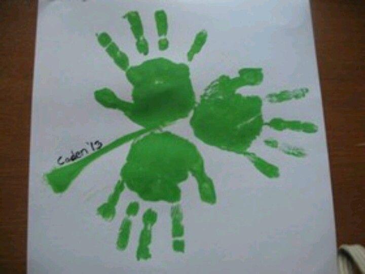 Shamrock Handprint Craft St Patrick S Day Crafts St Patricks