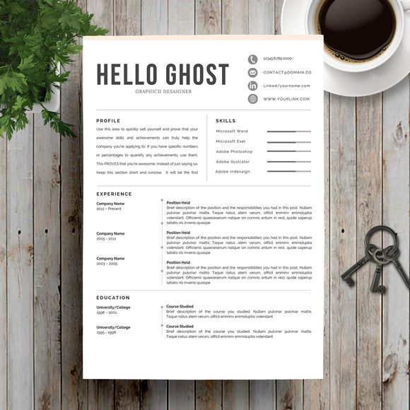 Professional Resume Template CV by Indograph on Creative Market - resume template for pages
