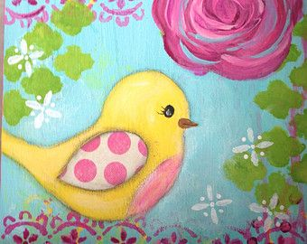 Whimsical Yellow Bird Painting on Wood Canvas 5x5, Girls room art original painting, Pink Rose