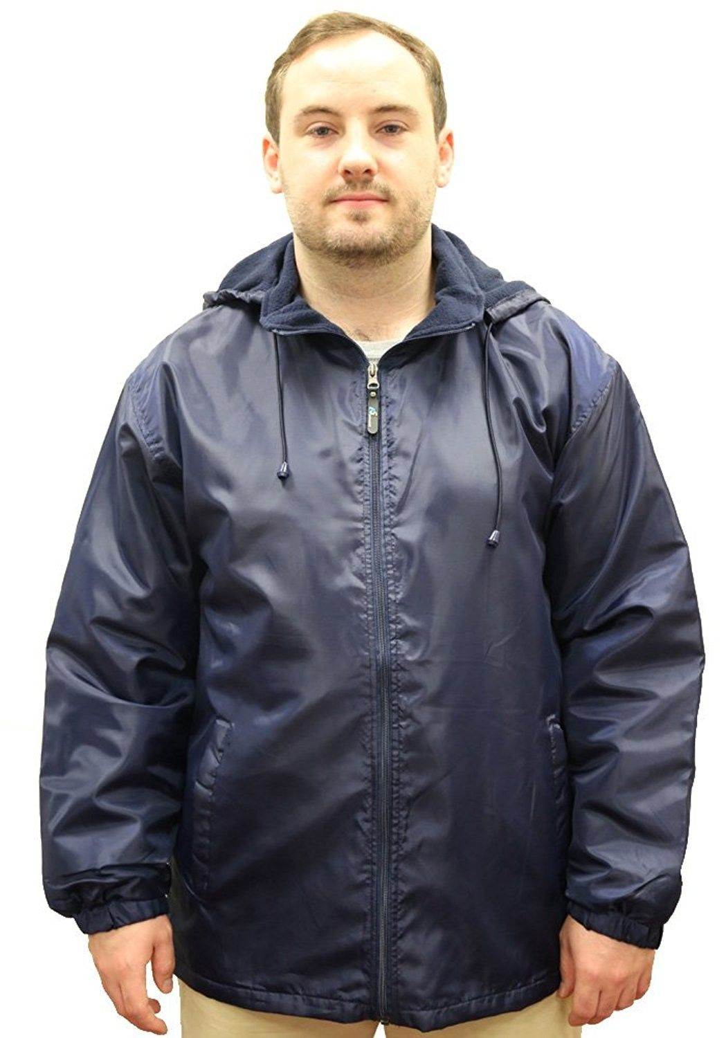men s polar fleece lined warm insulated hood jacket navy on men s insulated coveralls with hood id=40729