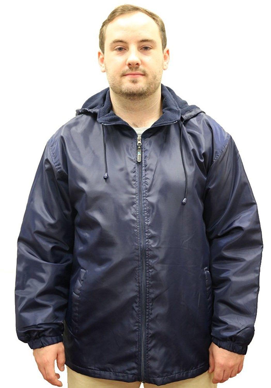Men's Polar Fleece Lined Warm Insulated Hood Jacket Navy