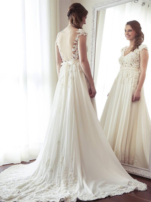 Lace cap sleeve a line wedding dress  Cap Sleeve See Through V Neck Lace Beaded Cheap Beach Wedding
