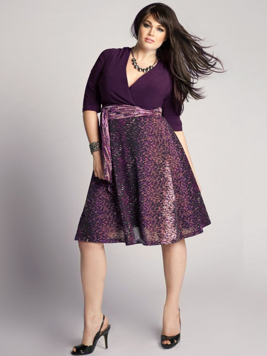 Plus Size V Neck A Line Grape Satin Bodice And Printed Skirt Knee Length Dress Plus Size Dresses Paloma Dress Dresses