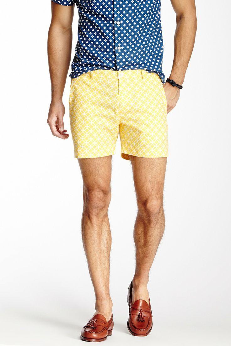 Men's Light Blue Long Sleeve Shirt, Yellow Shorts, Dark Brown ...