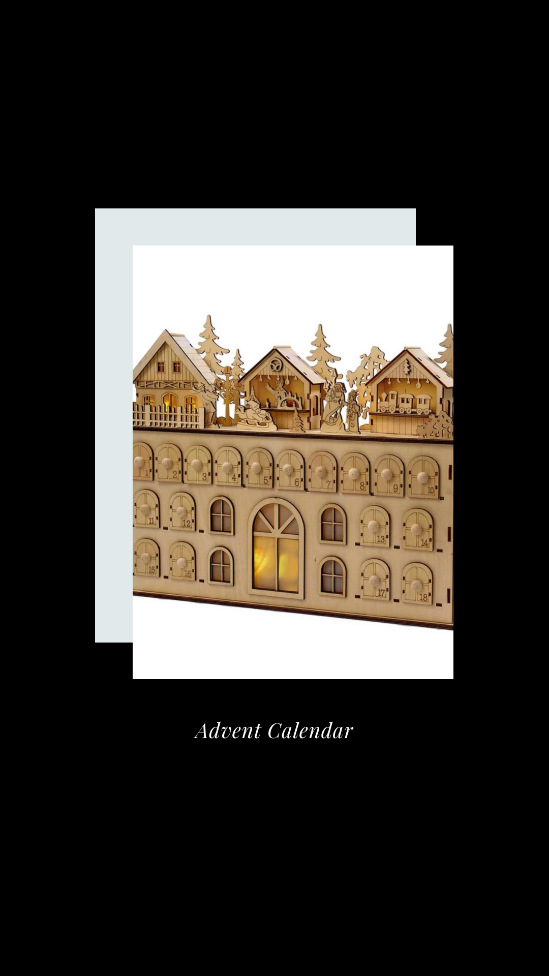 Led Wooden Advent Calendar Winter Minimal Neutral Black