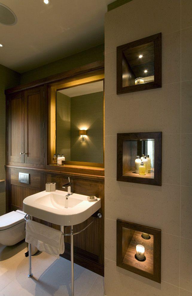Niche design ideas pictures bathroom transitional with dark wood ...
