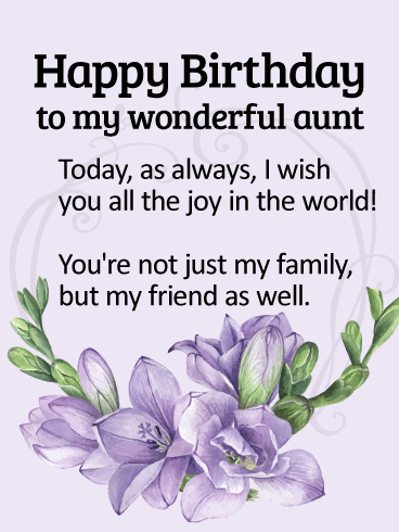 To my wonderful aunt happy birthday wishes card happy birthday lavender happy birthday wishes card birthday greeting cards by davia m4hsunfo Gallery