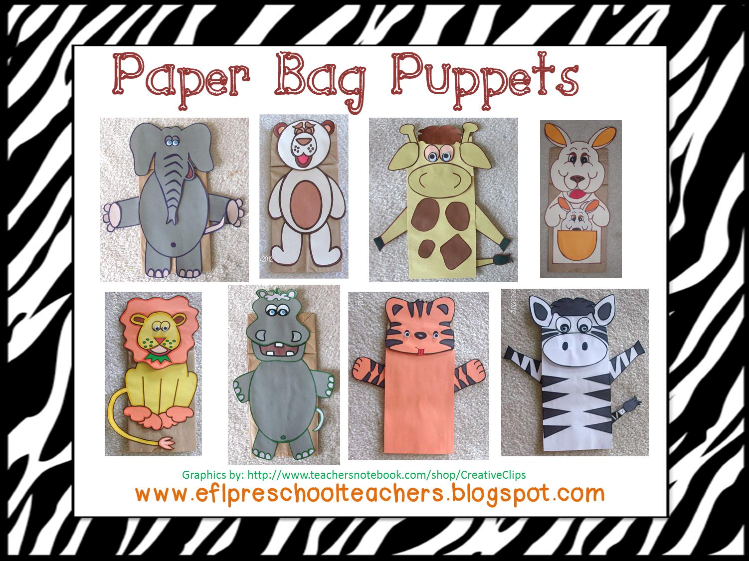 Eslefl preschool teachers zoo animal paper bag puppet preschool
