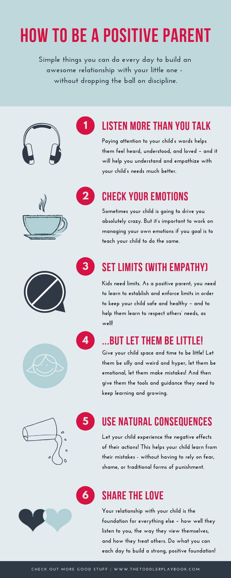 6 Simple Positive Parenting Ideas and Tips For Toddler Parents. What to do every day to nurture a positive relationship with your child built on respect and healthy communication - from actively listening to your toddler to using natural consequences and other positive discipline strategies. Click through for more details!  #positiveparenting #parenting #toddlerparentingtips #toddlertips #toddlerlife #loveandlogic