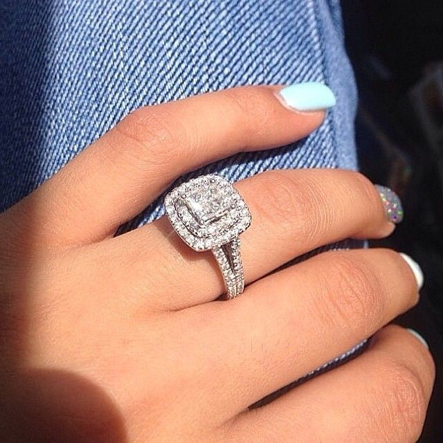 princess cut engagement ring with a double halo - How Do Wedding Rings Work