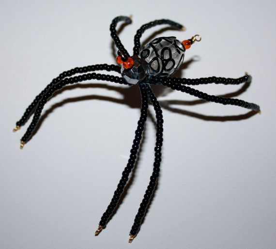 Beaded Spider Black Widow Insect Ornament Halloween Decorations - halloween decorations spider