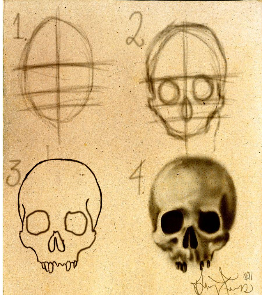 How To Draw A Skull Stepbystep By Dforssteniantart On @deviantart