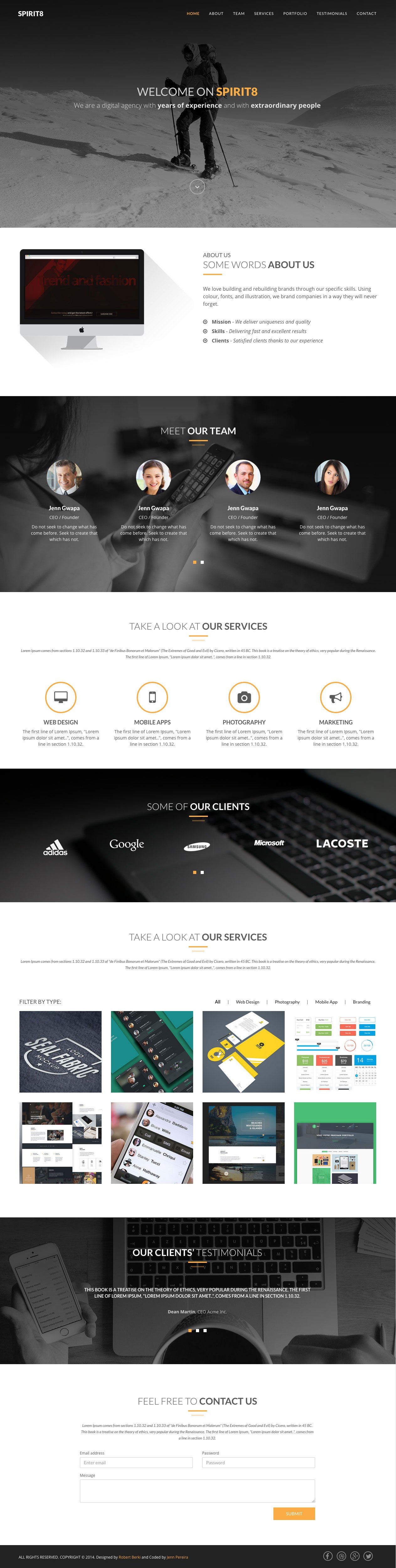 Spirit8 – Bootstrap HTML template Free | bootstrap themes ...