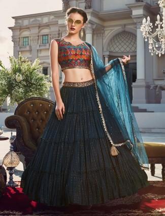 Navy designer wedding wear geoegette lehenga choli - G3-WLC6536 | G3fashion.com