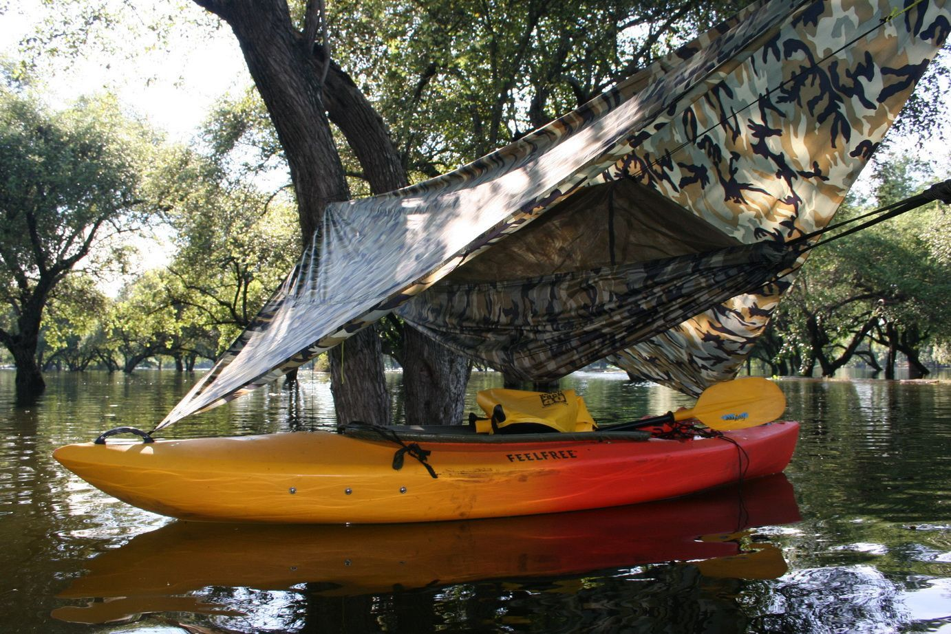 Jungle Hammock With Netting Hung In Tree Over Kayak And