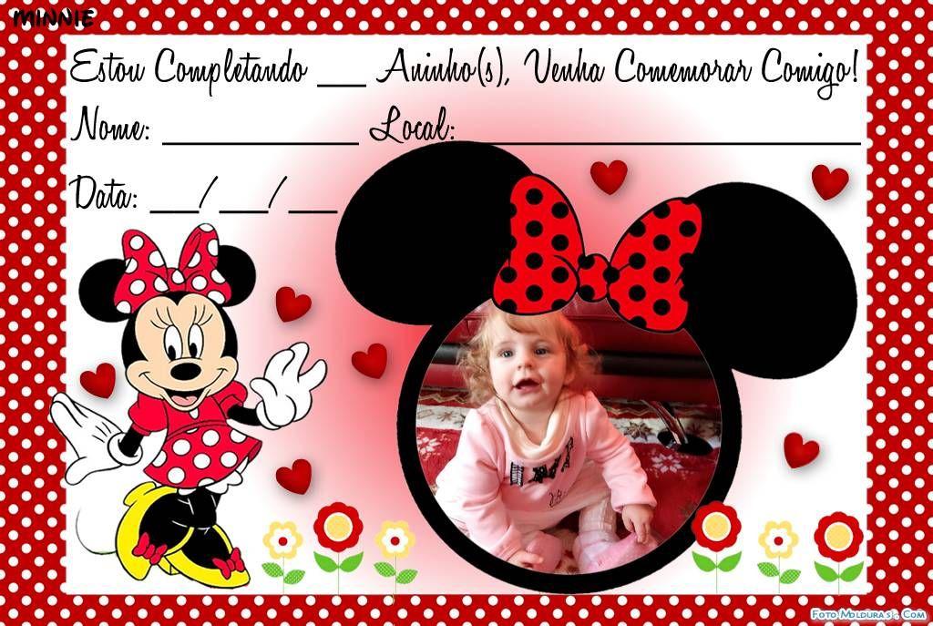 Moldura Convite Minnie Vermelha Convite Minnie Vermelha