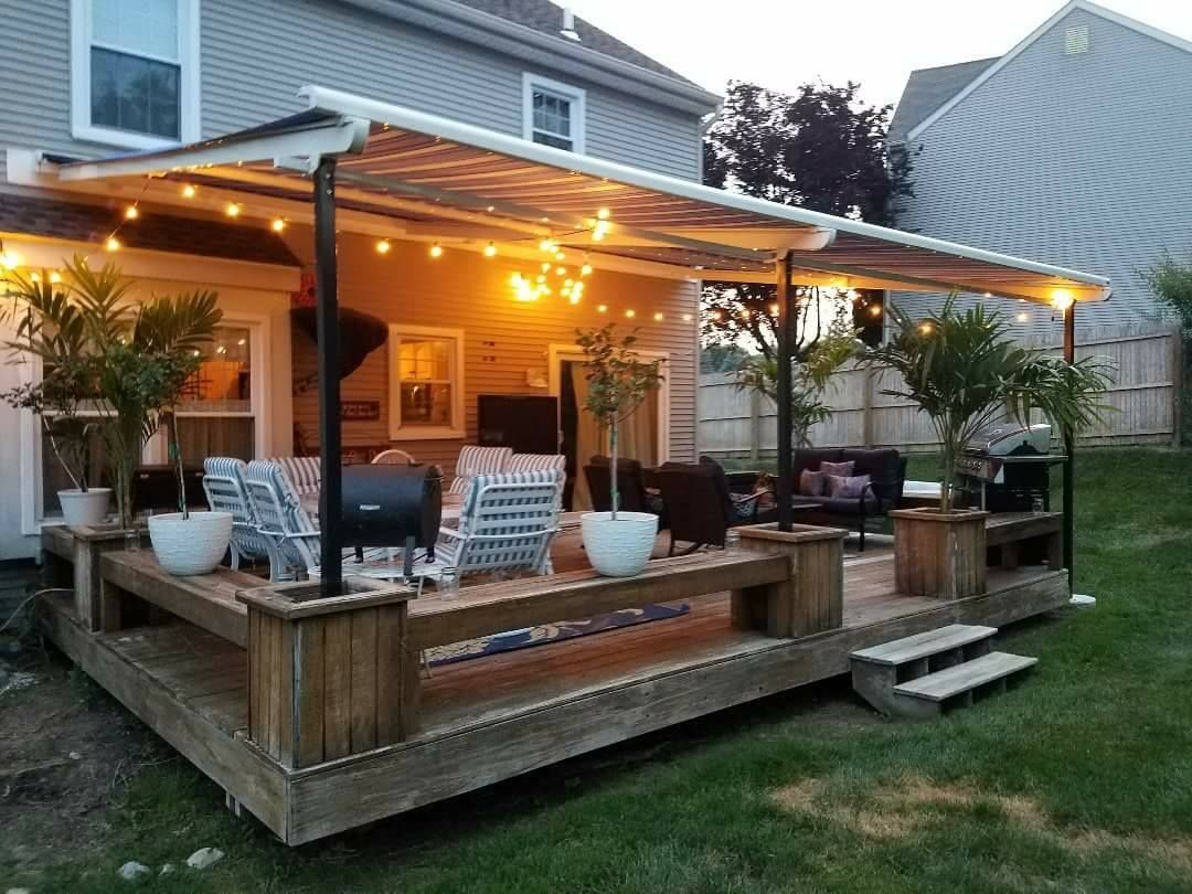 Shield Your Deck From The Elements With A Retractable Pergola Awning Milanese Remodeling Retractable Pergola Pergola Pergola Plans