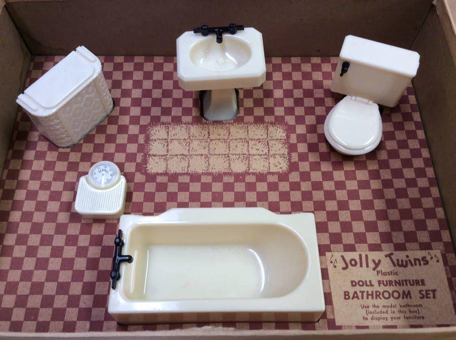 VINTAGE RENWAL JOLLY TWINS BED LIVING BATH
