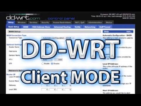 DD-WRT Client Mode Setup - http://thedailynewssource.com/2014/04/06/tech-buzz/dd-wrt-client-mode-setup/