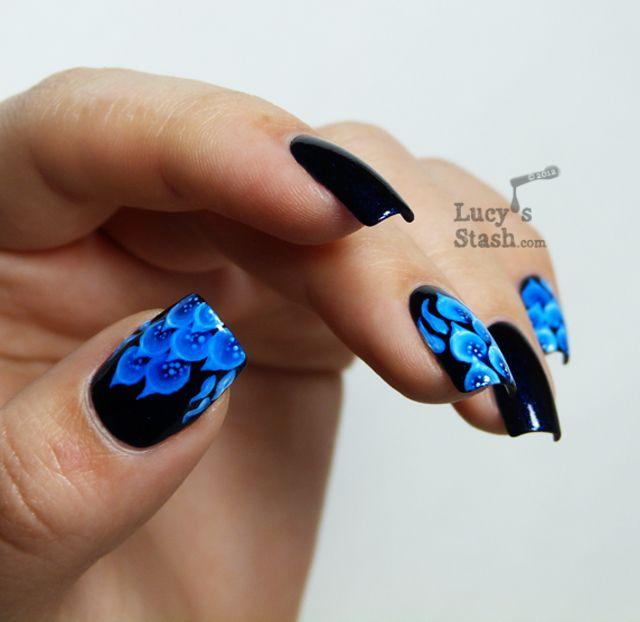 Blue Fire Fancy Nails Designs Flame Nail Art Blue Nails