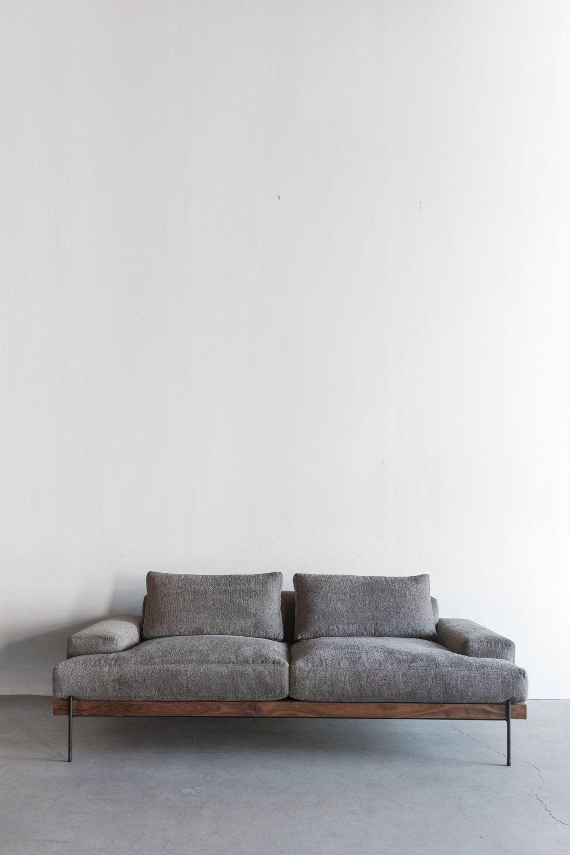 Rivera Sofa, Walnut and Steel Base, Down Cushions Sofa