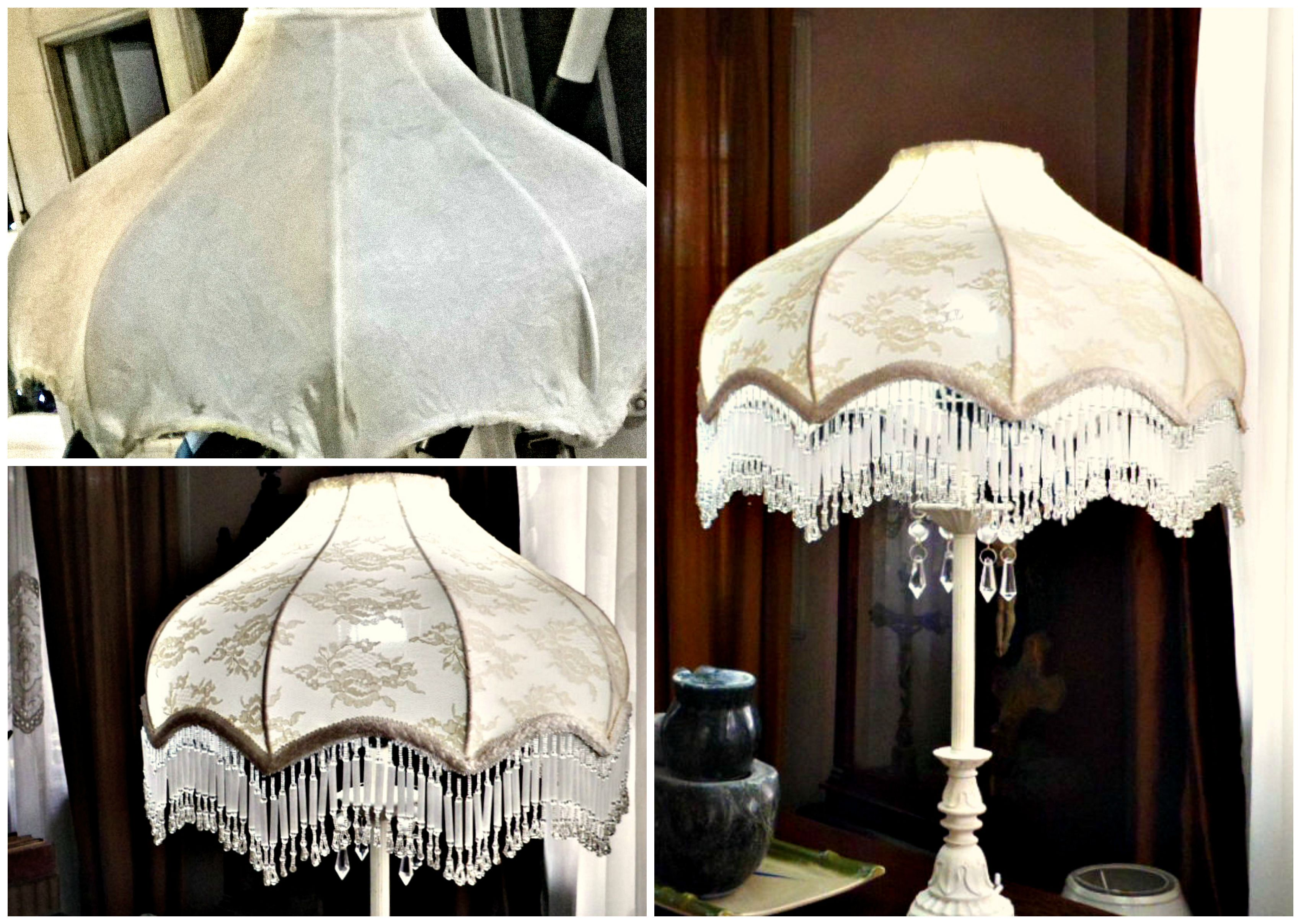 Victorian Lampshade Restored. This inverted scallop dome shade needed some fresh fabric and trim. The bead fringe is original to the shade. https://www.facebook.com/ivoirelampshades