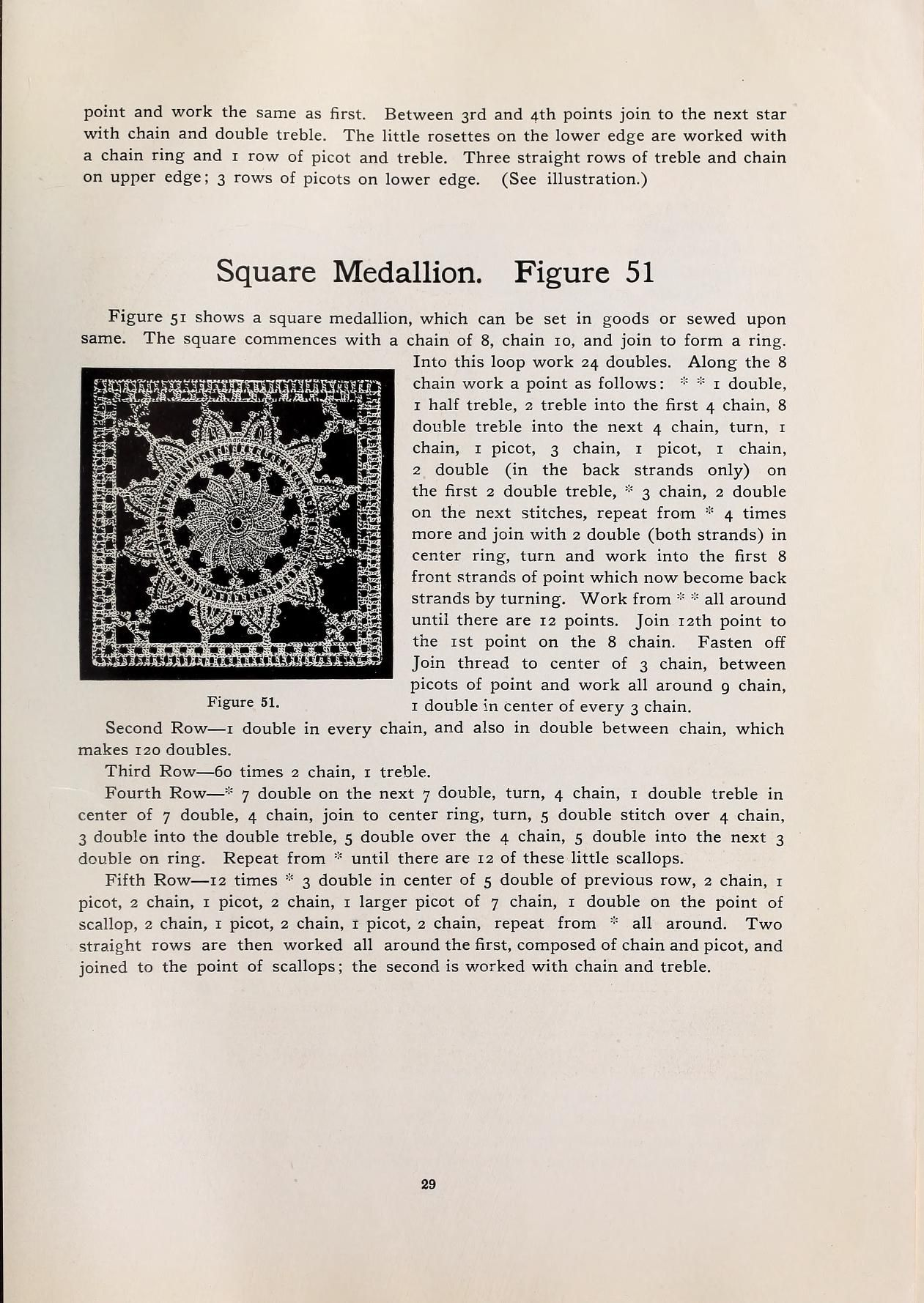 The Square Medallion from Designs and instructions for Irish crochet ...