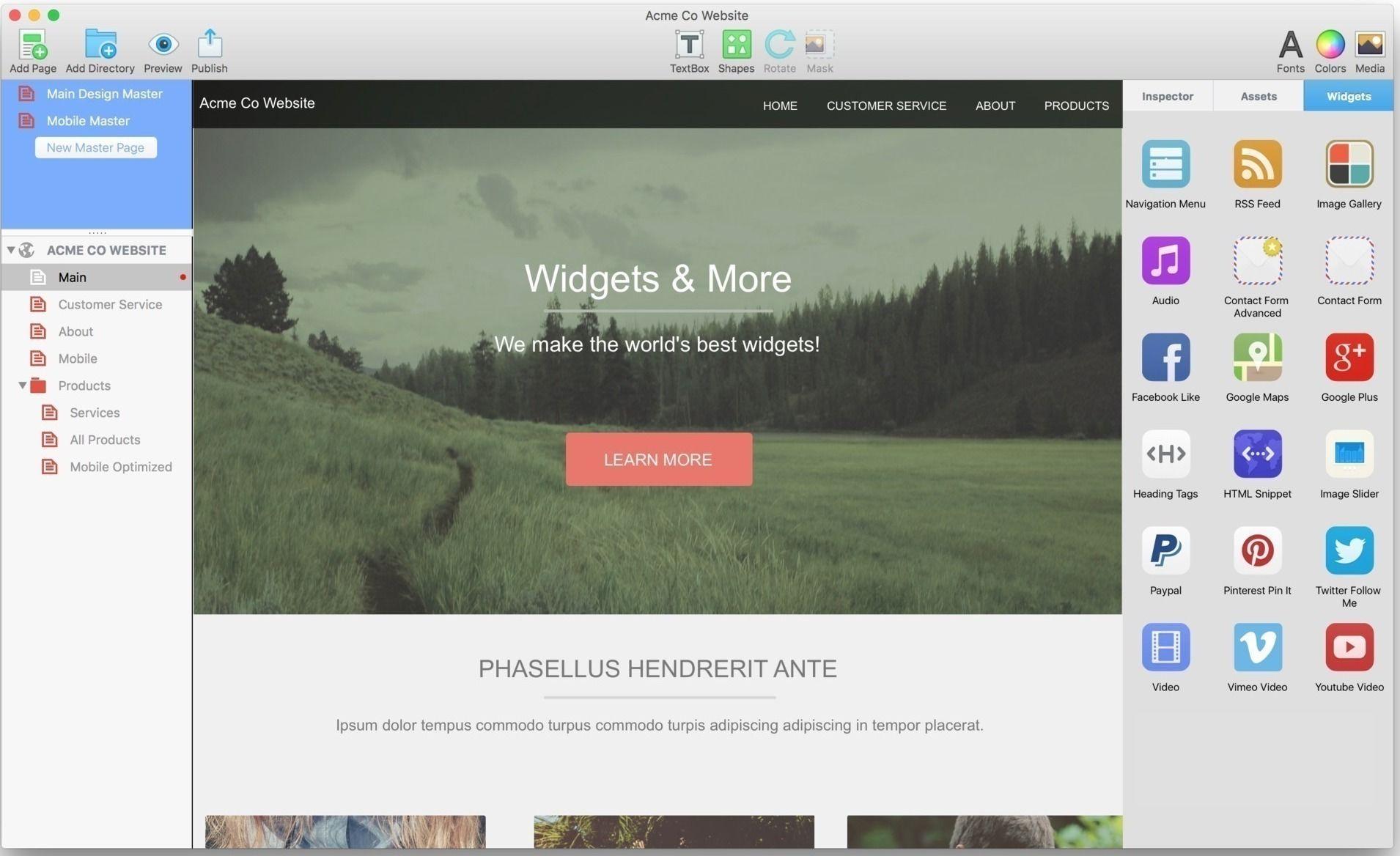 EverWeb 2 7 1 - Drag-and-drop website builder  | Free App Mac