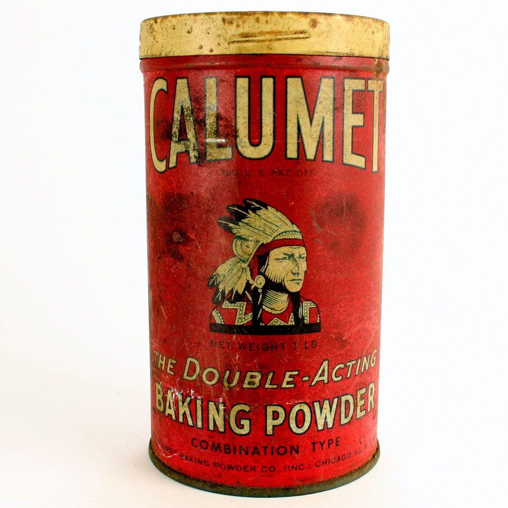 Vintage Double Acting Calumet Baking Powder Tin Can Indian