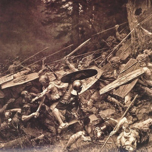 Germanic Tribes Charging the Roman Troops - The Battle of Teutoburg Forest in 9 A.D - http://www.inblogg.com/germanic-tribes-charging-the-roman-troops-the-battle-of-teutoburg-forest-in-9-a-d/