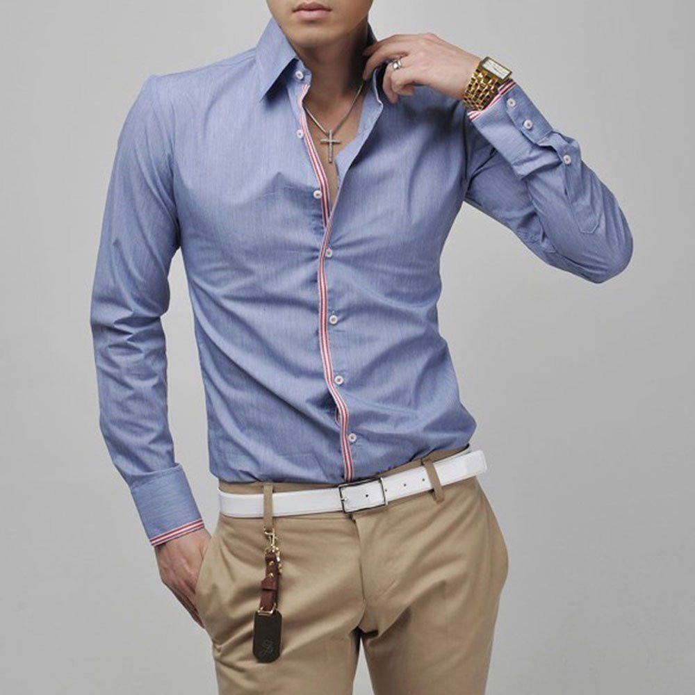 Fashion Men Luxury Casual Stylish Slim Fit Long Sleeve Formal Dress Shirts Tops
