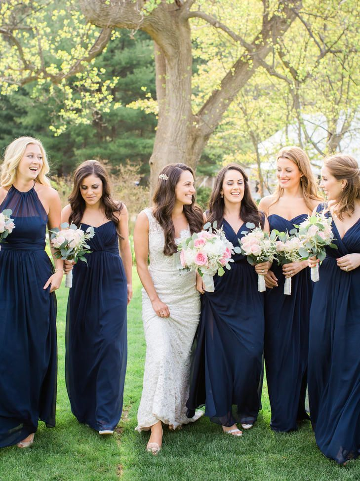 Navy Chiffon Bridemaid Gowns Deborah Zoe Photography