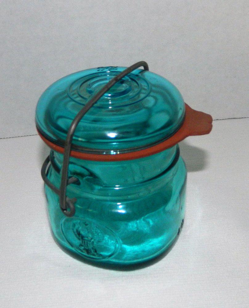 Vintage Ball Ideal Bicentennial Eagle Blue 1/2 Pint Canning Jar 4 ...