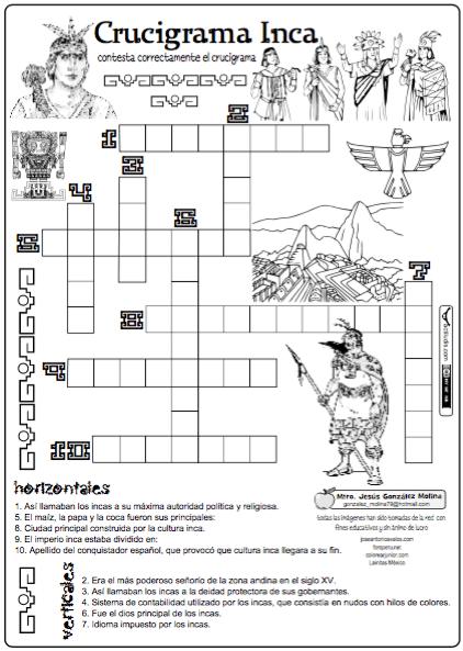 Crucigrama Inca Actiludis Historia De Peru Actividades De Historia Historia De America