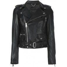 Women Black Motorbike Jacket Soft Cowhide Leather Jacket