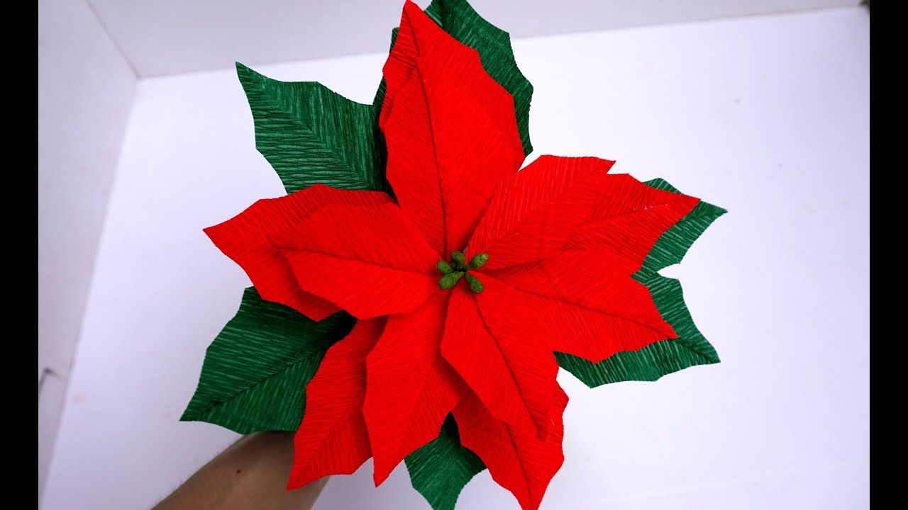 How To Make Tissue Paper Flowers Look Real Poinsettia Flower Paper Cra Paper Flowers Tissue Paper Flowers Paper Flowers Diy