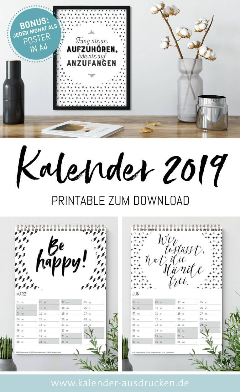 kalender 2019 schwarz weiss deko printables 2019. Black Bedroom Furniture Sets. Home Design Ideas